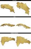 Formes d'or de Costa Rica, Cuba, République Dominicaine  Image libre de droits