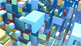 formes 3D géométriques, cubes et rectangles flottant dans l'espace Image libre de droits