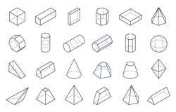 formes 3D géométriques Formes linéaires isométriques, objets de polygone de pyramide de cylindre de cône de cube bas Isométrique  illustration stock
