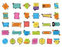 Formes de citation Les formes graphiques pour des notes et des remarques des textes dirigent des conceptions de différence illustration stock