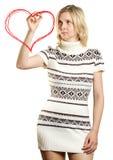 Formes de coeur de retrait de femme Photographie stock libre de droits