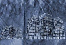 Formes de construction sur le bleu métallique Photographie stock libre de droits
