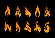 Formes de flamme de vecteur Photographie stock