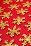 Formes de flocon de neige d'or Image stock