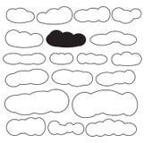 Formes de nuage réglées dans la couleur noire Image stock