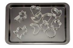Formes de plateau et de gâteau de traitement au four Photos stock