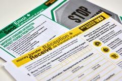 Formes de Western Union sur un fond blanc Photos stock