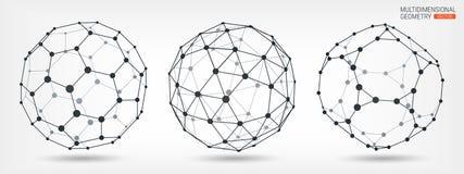 Formes géométriques à facettes multiples abrégez le fond Wireframe des lignes et des points Maille polygonale géométrique complex