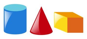 Formes géométriques dans trois couleurs illustration de vecteur