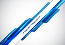 Formes g?om?triques brillantes bleues d'en-t?te de r?sum? recouvrant la pr?sentation futuriste en mouvement de style de technolog illustration de vecteur