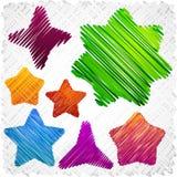 Formes griffonnées d'étoiles. Images libres de droits