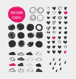 Formes, icônes, éléments et coeurs tirés par la main Photographie stock libre de droits