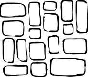 Formes tirées par la main de rectangle et de place de coin rond au-dessus de blanc Photos stock