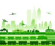Formez le fonctionnement par la ville, et les avions allant être débarqué dans l'aéroport Illustration industrielle Photos libres de droits