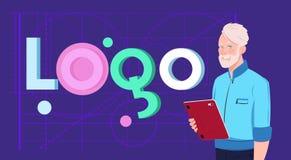 Formgivare With Digital Tablet för affärsman över Logo Word Creative Design On abstrakt geometrisk formbakgrund royaltyfri illustrationer