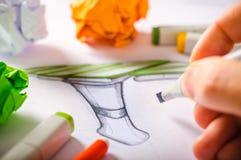 Formgivare Drawing Royaltyfri Foto