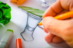 Formgivare Drawing Arkivfoto