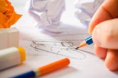 Formgivare Drawing Fotografering för Bildbyråer