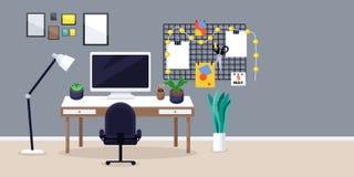 Formgivare- eller freelancerarbetsställe, plan illustration för vektor Idérik arbetsplats med bildskärmen på skrivbordet, moodboa stock illustrationer