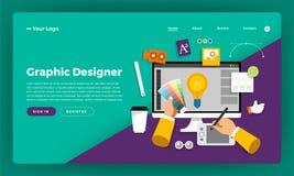 Formgivare för begrepp för design för lägenhet för modelldesignwebsite grafisk Ve vektor illustrationer