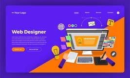 Formgivare för rengöringsduk för begrepp för design för lägenhet för modelldesignwebsite vektor vektor illustrationer