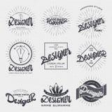 Formgivare - gradbeteckningklistermärken kan användas som en färdig logo eller designen, presentation för företags identitet stock illustrationer