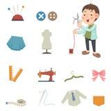 Formgivare- och sömnadutrustningsymboler vektor illustrationer