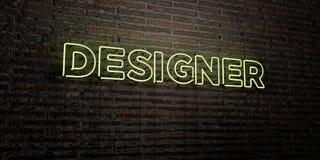FORMGIVARE - realistiskt neontecken på bakgrund för tegelstenvägg - 3D framförd fri materielbild för royalty vektor illustrationer
