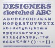 Formgivare skissade ABC stock illustrationer