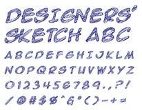 Formgivare skissade ABC vektor illustrationer