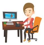 Formgivare som använder den digitala diagramminnestavlan stock illustrationer