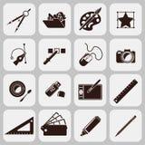 Formgivare Tools Black Icons stock illustrationer