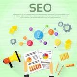Formgivare Workplace för Seo Digital marknadsföringsrengöringsduk stock illustrationer
