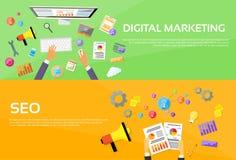 Formgivare Workplace för Seo Digital marknadsföringsrengöringsduk royaltyfri illustrationer