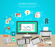 Formgivare Workspace Concept vektor illustrationer