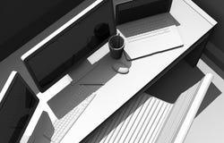Formgivare Workstation Desk vektor illustrationer