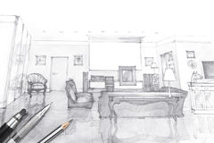 Formgivarearbetsplats med teckningsmaterial och hjälpmedel Fotografering för Bildbyråer