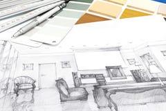 Formgivarearbetsplatsen med skissar och teckningshjälpmedel Royaltyfri Foto