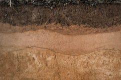 Formi degli strati del suolo, del suo colore e delle strutture Fotografie Stock Libere da Diritti
