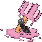 Formica che porta una fusione del gelato illustrazione di stock