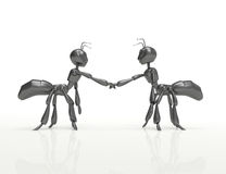Formica-concetto del fumetto di Handshake-3d royalty illustrazione gratis