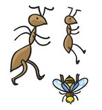 Formiche e ape Illustrazione di vettore Fotografie Stock