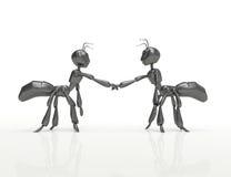 Formiga-conceito dos desenhos animados de Handshake-3d Foto de Stock