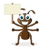 Formiga marrom pequena bonito com sinal de madeira ilustração do vetor