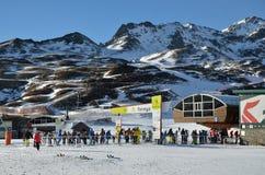 Formigal滑雪胜地在没有雪的冬天比利牛斯 库存图片