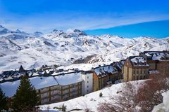 Formigal ski area in Huesca Pyrenees Spain. Formigal ski area skyline in Huesca Pyrenees of Spain stock images