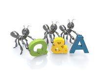Formigas dos desenhos animados das perguntas e do Answers-3d Foto de Stock