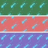 Formigas dos desenhos animados em uma cor para trás Fotografia de Stock