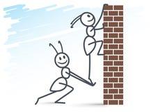 2 formigas e paredes de tijolo Imagem de Stock Royalty Free