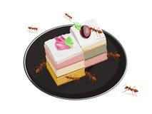 Formigas que comem o bolo isolado no fundo branco ilustração royalty free